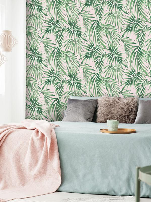 Superfresco Easy Elegant Leaves Blush Pink Wallpaper.