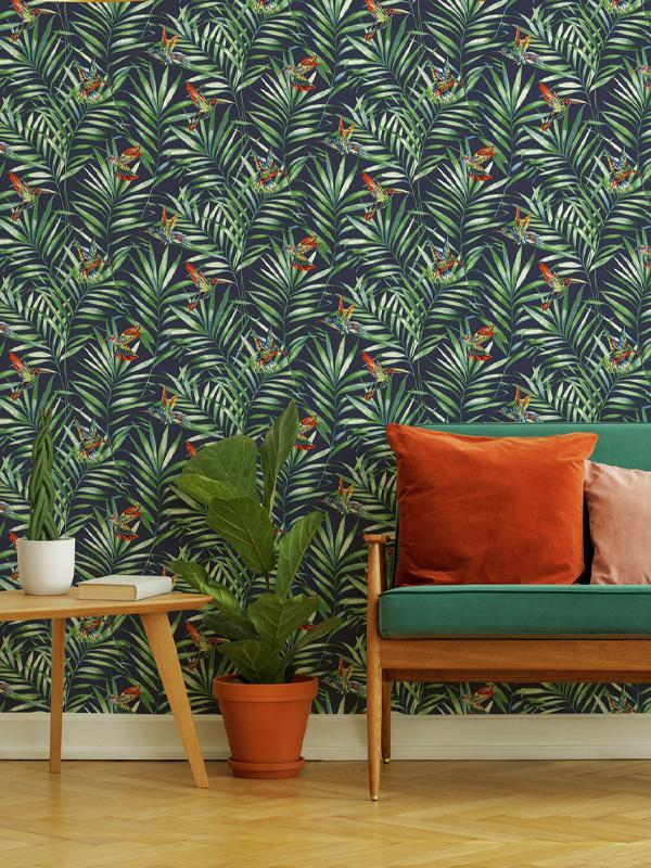 Dark blue and green botanical wallpaper.