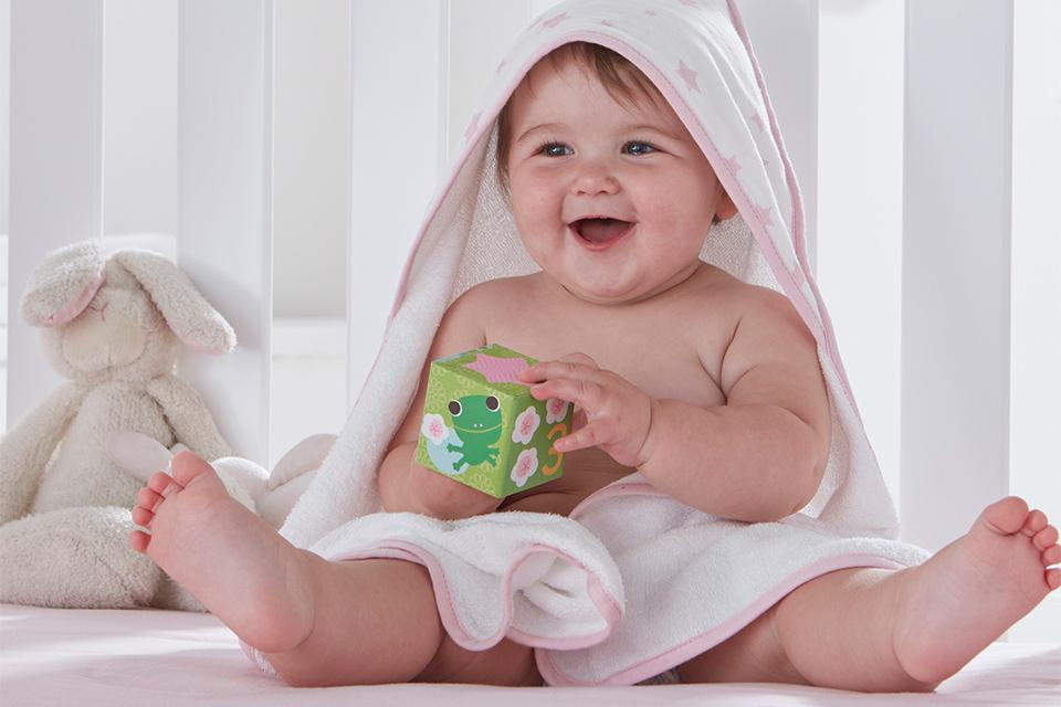 Baby bath accessories and towels.