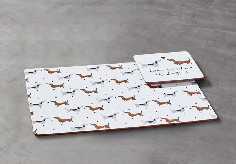 Argos Home Set of 4 Spotty Dachshund placemats and coasters