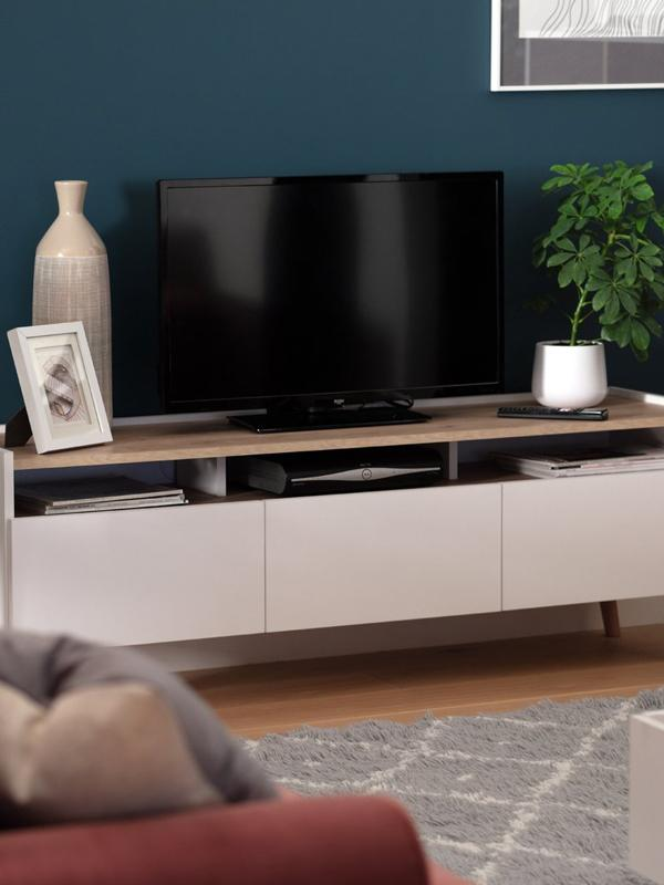 Habitat Skandi 3 Drawer TV Unit - White Two Tone.