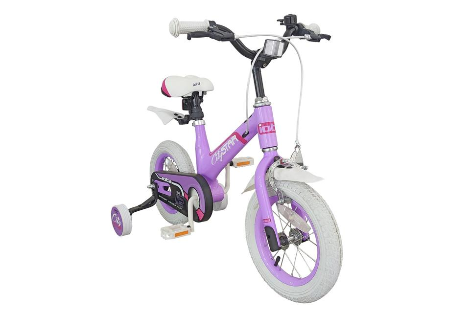 Purple bike with stabilisers.