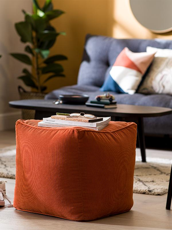Habitat Mid Century Pouffe - Orange.