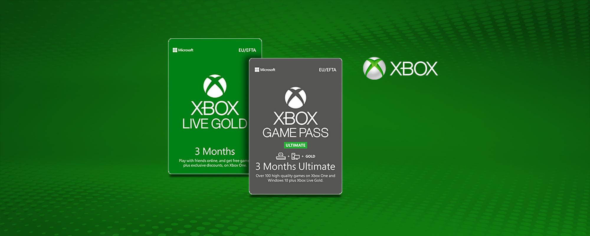 Xbox Live Gold & Xbox Game Pass digital codes.