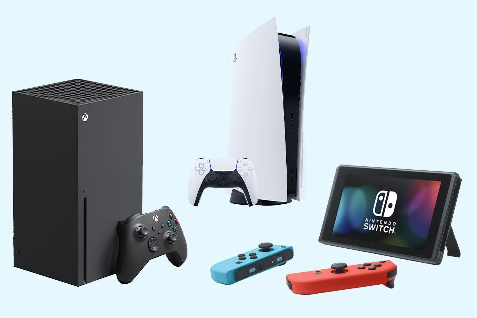 A PS5, Xbox Series X and Nintendo Switch console.
