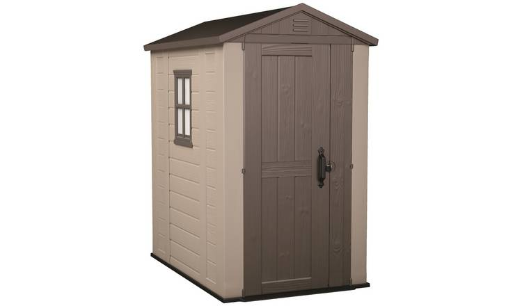 Keter Factor Apex Garden Storage Shed 4 x 6ft – Beige/Brown