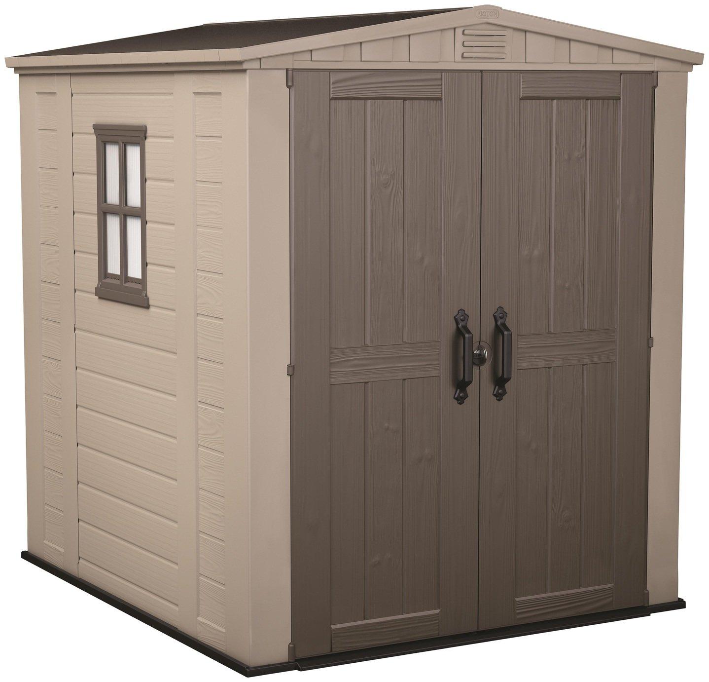 Keter Factor Apex Garden Storage Shed 6 x 6ft – Beige/Brown