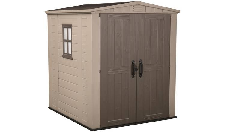 Keter Factor Apex Garden Storage Shed 6 x 6ft – Beige/Brown