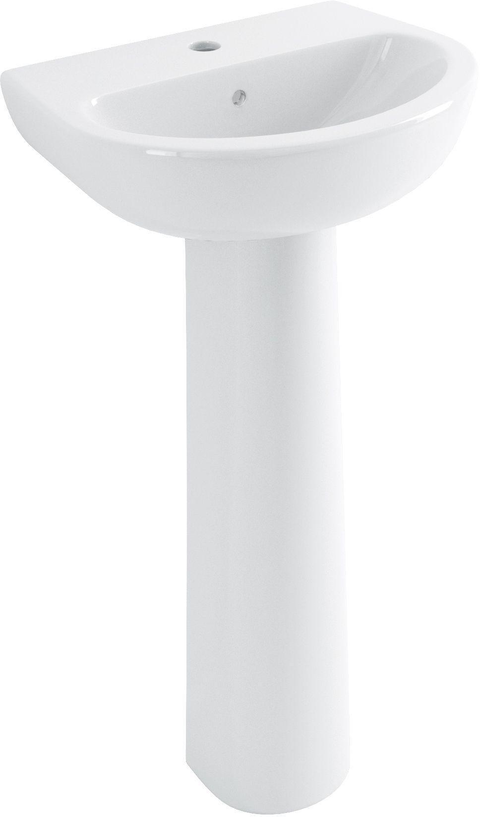 Eliana Maple 1 Tap Hole Cloakroom Basin with Full Pedestal.