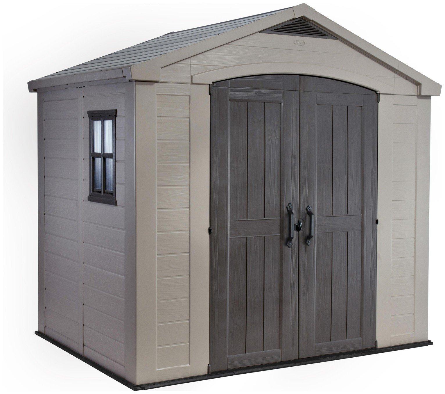 Garden Sheds Argos buy keter apex plastic beige & brown garden shed - 8 x 6ft at