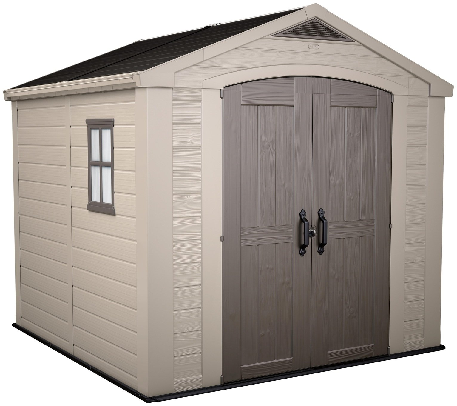 Keter Factor Apex Garden Storage Shed 8 x 8ft - Beige/Brown