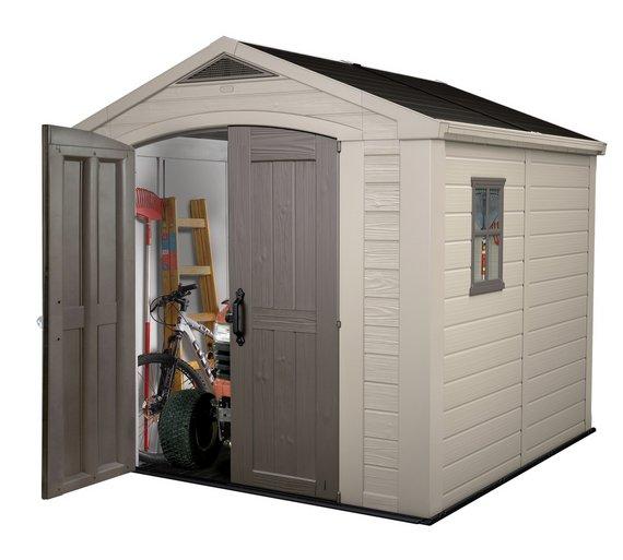 keter apex plastic beige brown garden shed 8 x 8ft