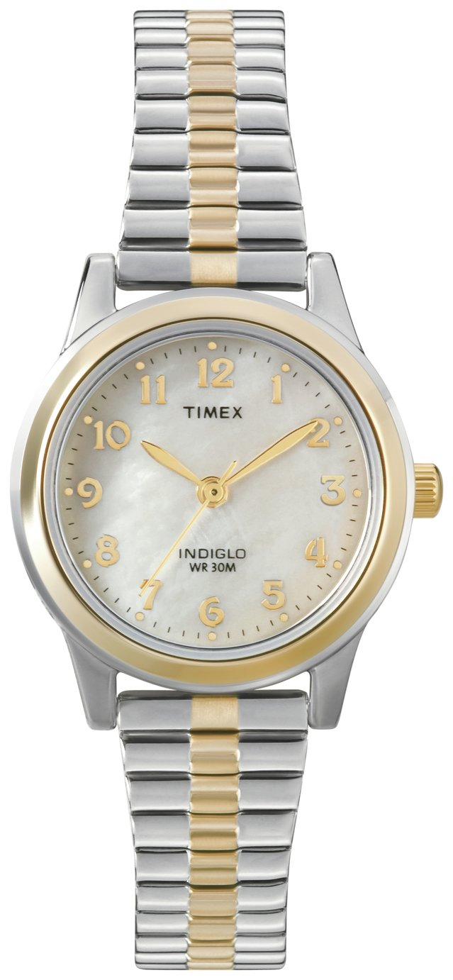 Timex Ladies' Mother of Pearl Dial Two-Tone Expander Watch