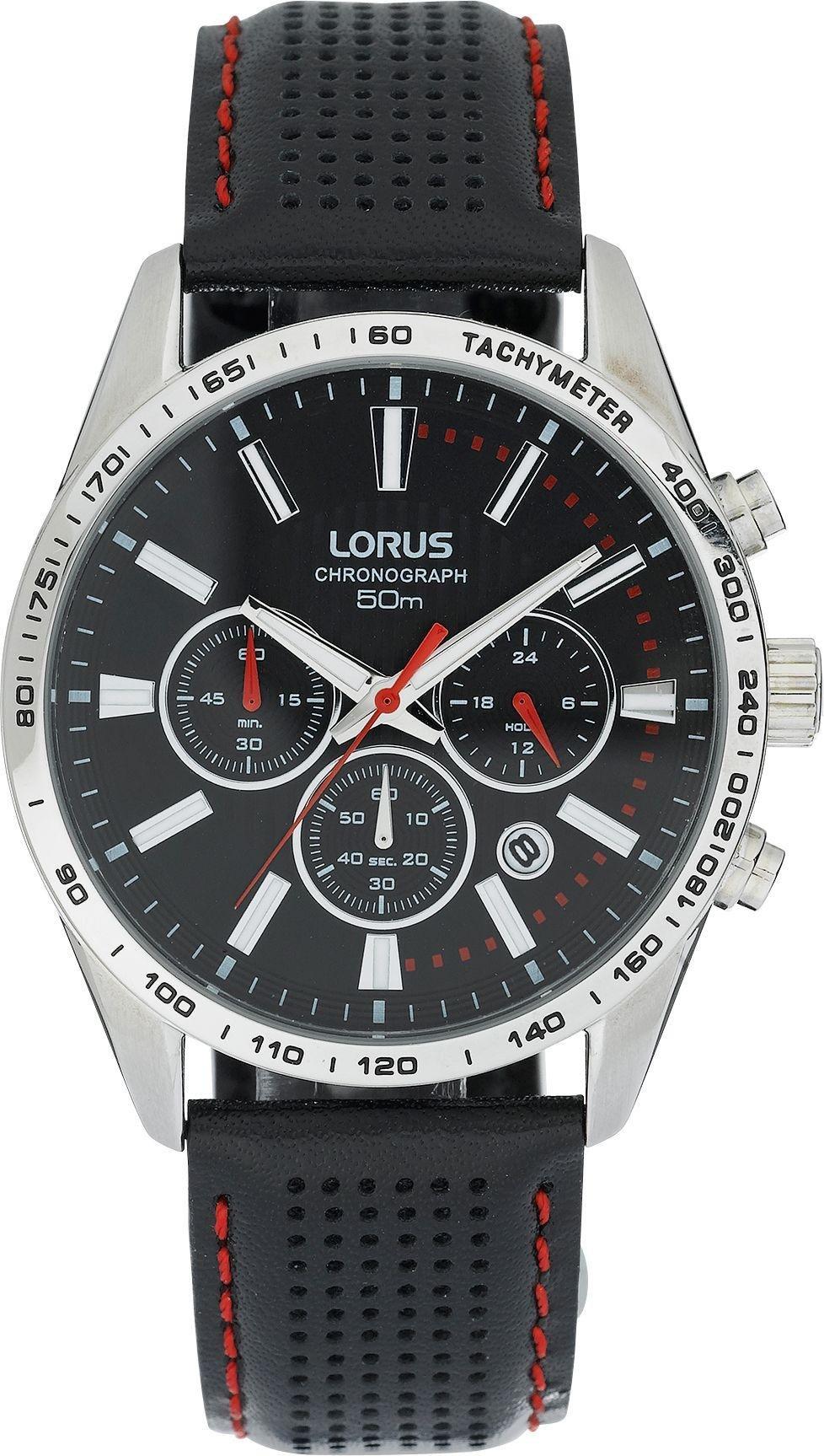 Lorus Men's Black Leather Strap Chronograph Watch