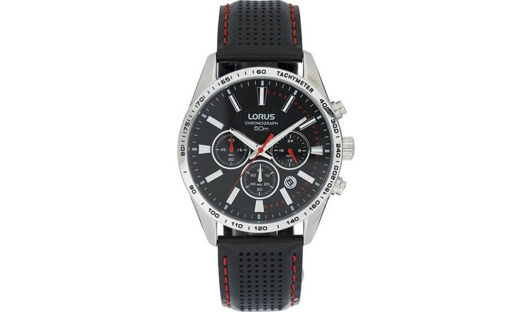 Lorus Men's Chronograph Black Leather Strap Watch