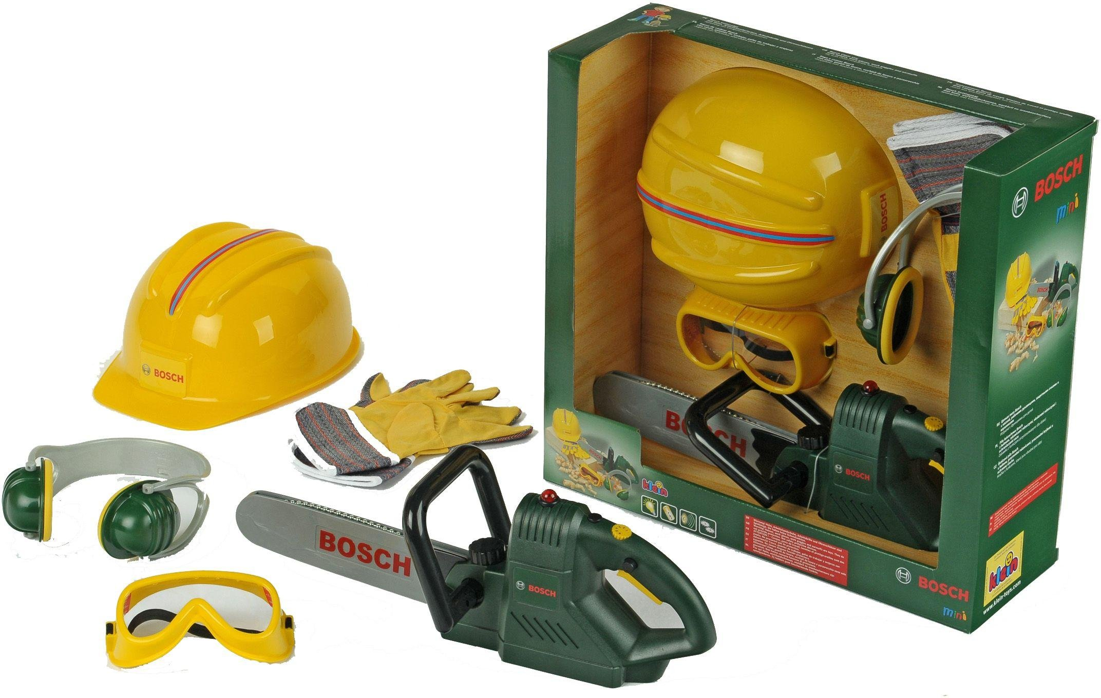 Image of Bosch Junior - Toy Chainsaw, Helmet and Accessories