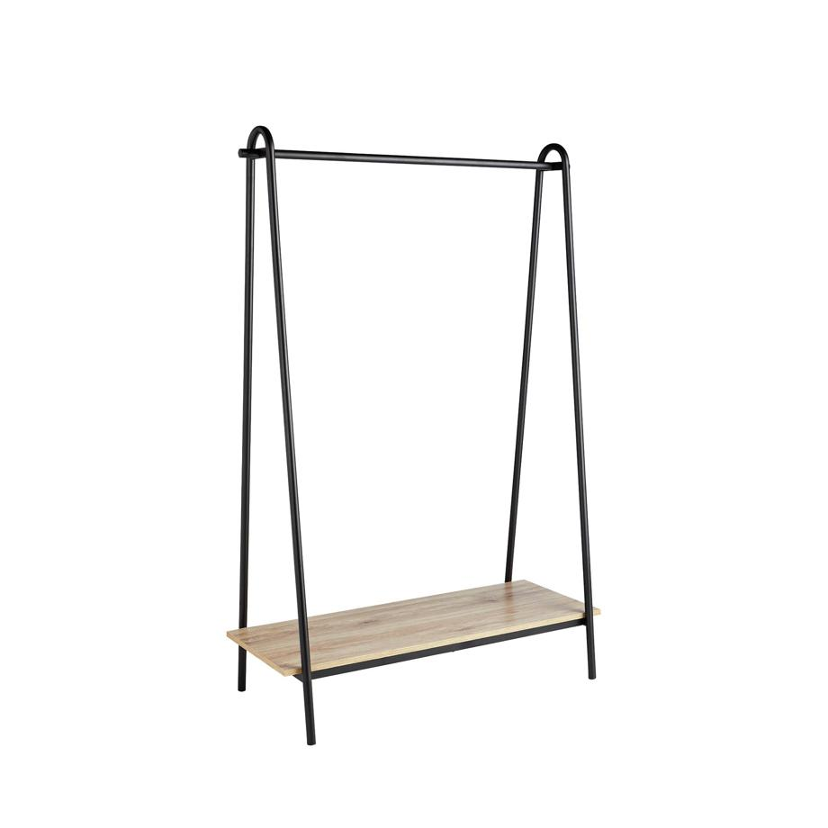 Argos Home Clothes Rail with Wood Effect Shelf - Black.