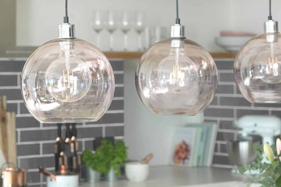 Create pockets of light with pendant lighting
