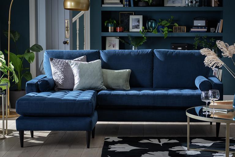 Habitat Hudson Reversible Corner Velvet Sofa - Blue.