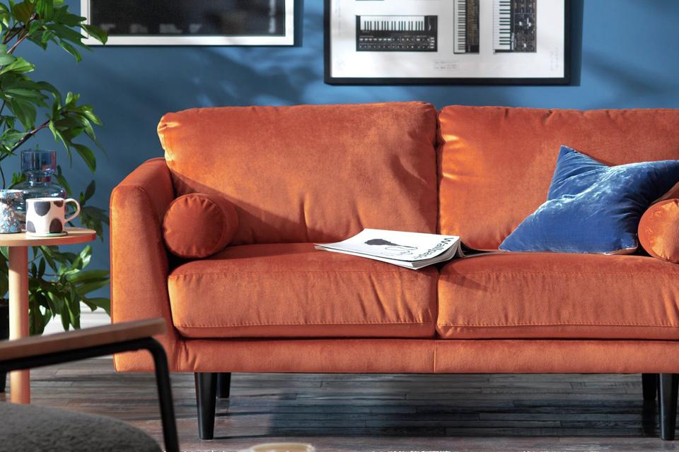Habitat Jackson 2 Seater Velvet Sofa - Orange.