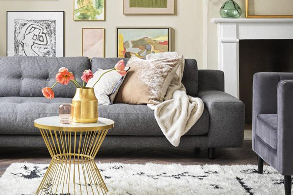 A grey sofa.