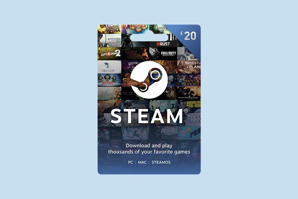 A £20 Steam voucher card.