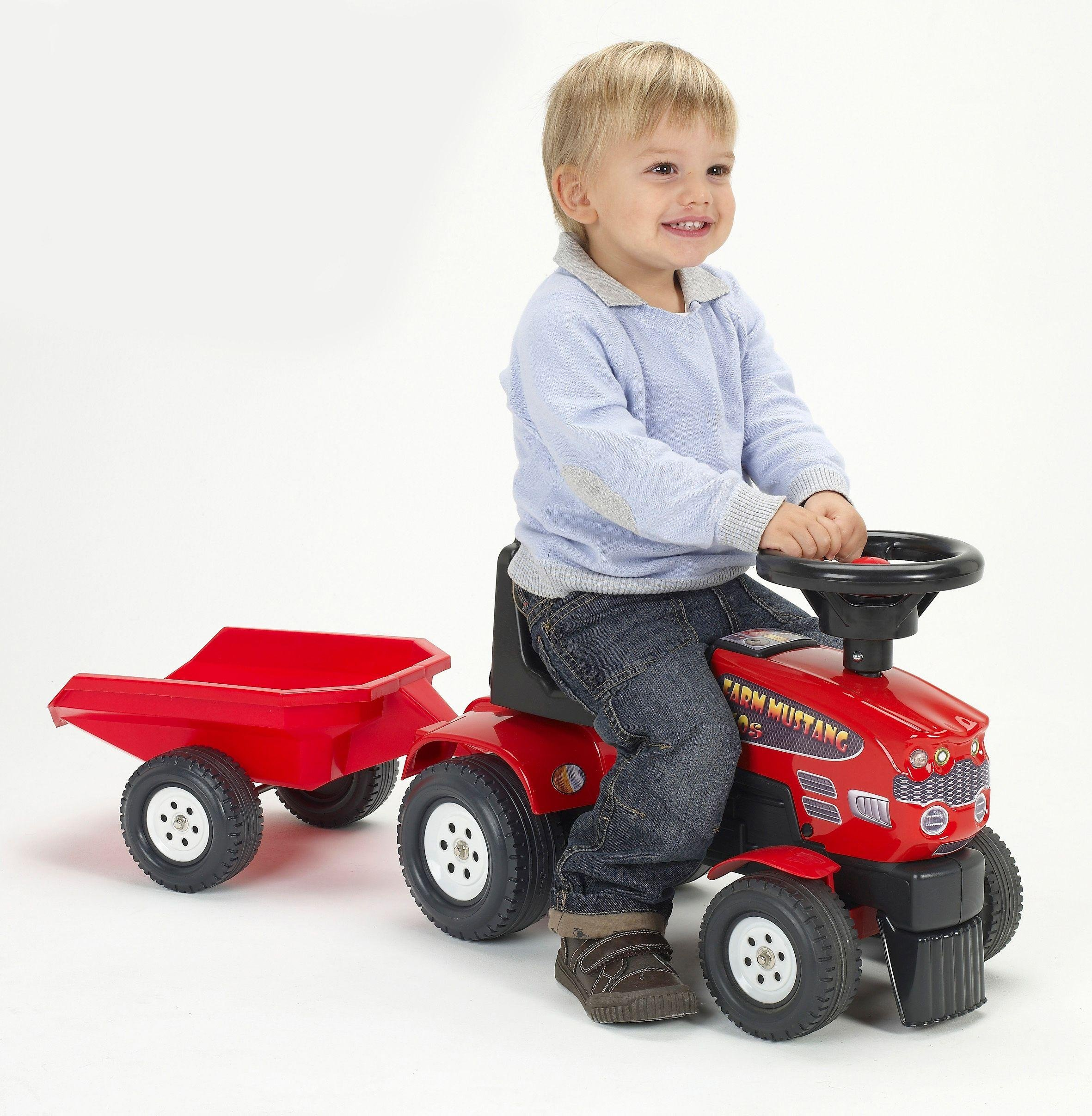 Image of Baby Farm Kids Mustang Tractor and Trailer