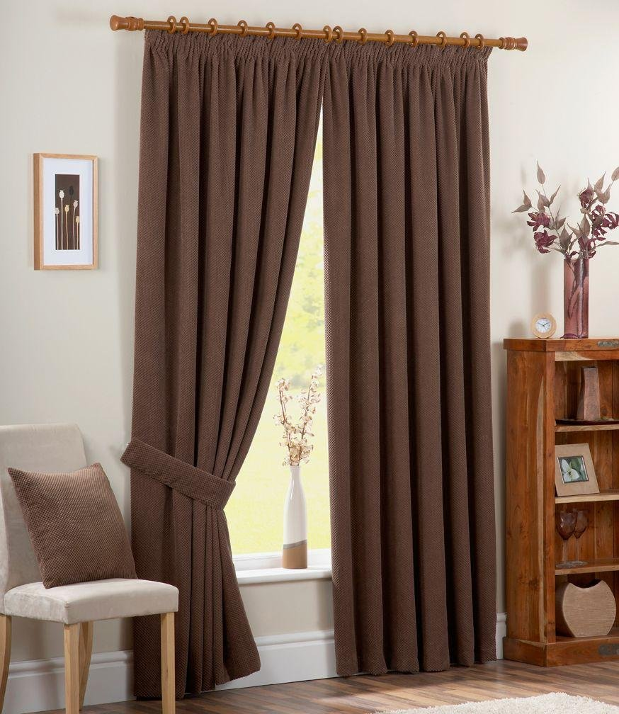Chenille Spot Thermal Backed Curtains - 168x183cm - Choc.