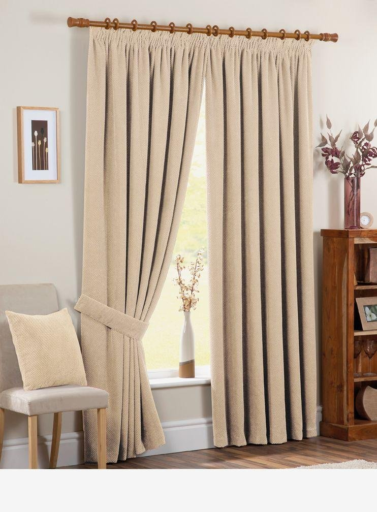 Chenille Spot Thermal Backed Curtains - 117 x 183cm - Cream.