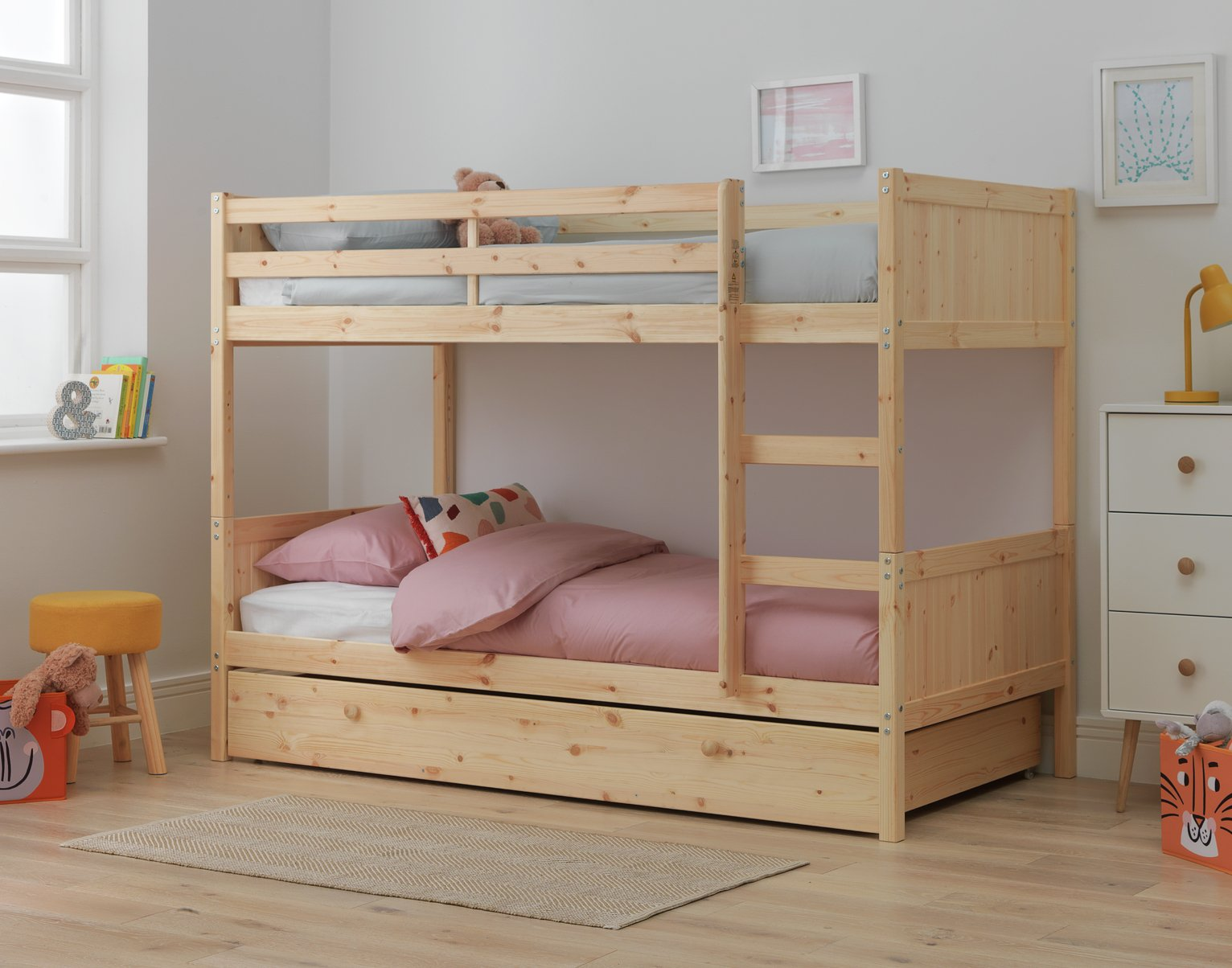 Argos Home Detachable Pine Bunk Bed Frame with Drawer