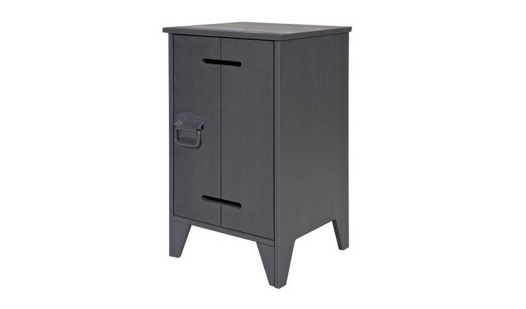 Woood Kluis 1 Door Bedside Table - Steel Grey