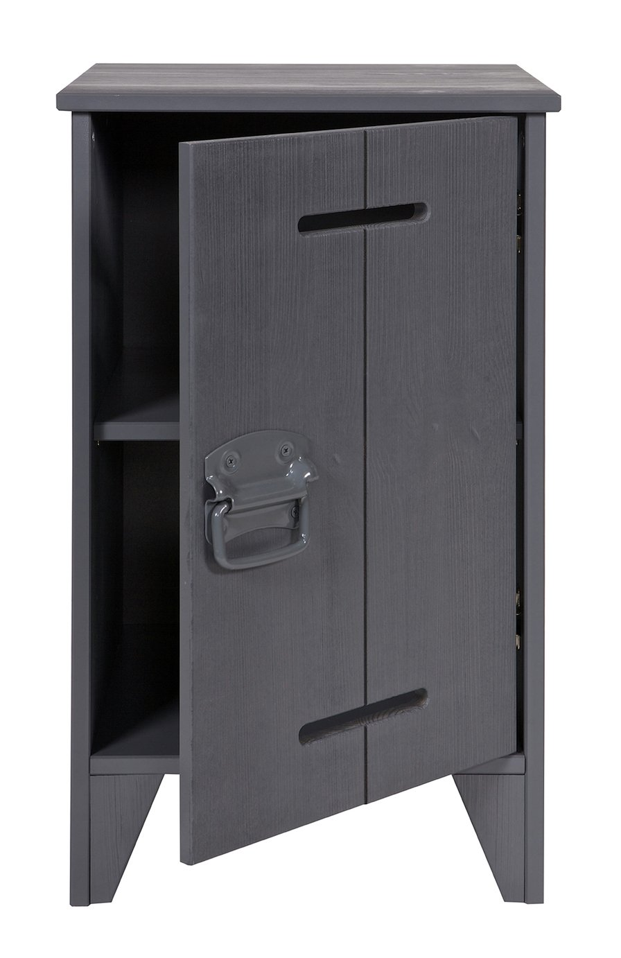 Woood Kluis Steel Grey Bedside Cabinet