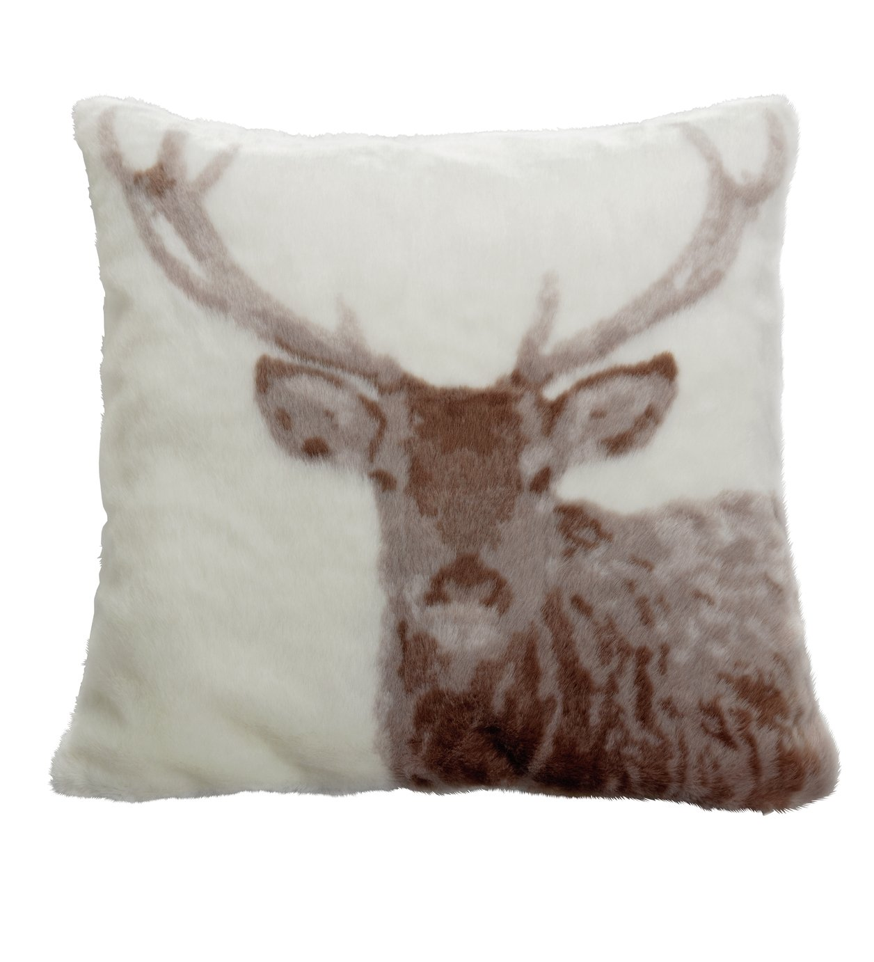 Argos Home Winter's Cabin Stag Faux Fur Cushion