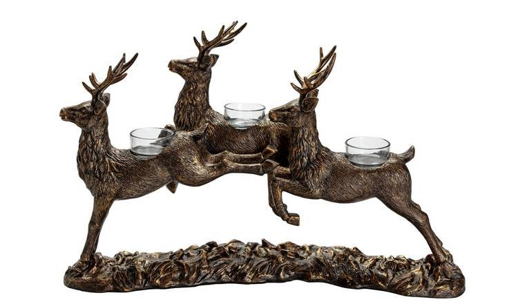 Argos Home Berry Christmas Jumping Stag Tealight Holder