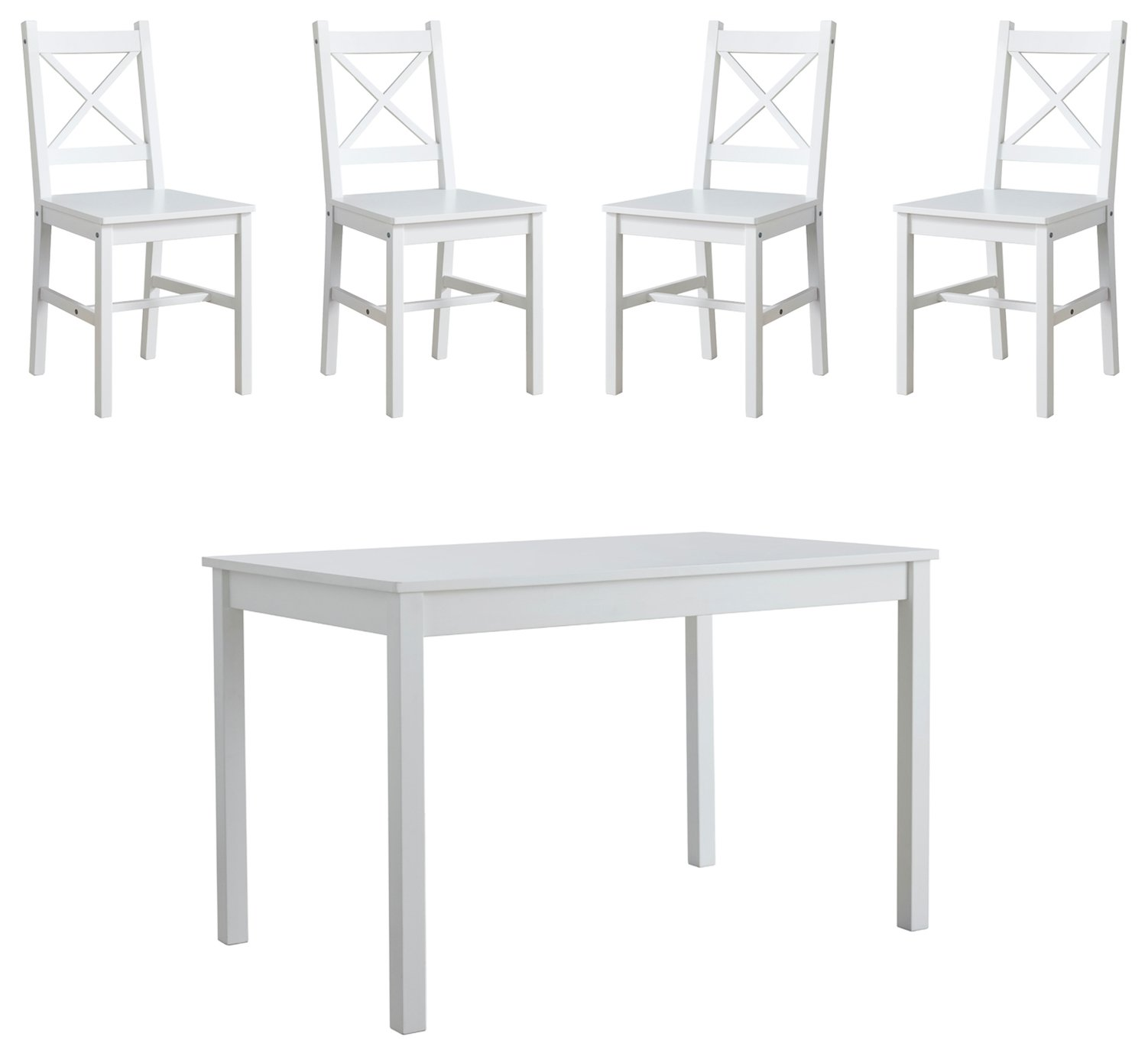 LP Wood Effect Dining Table & 4 White Chairs