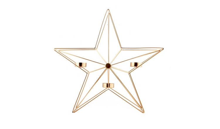 Argos Home Christmas Noir Bronze Large Star Candle Holder