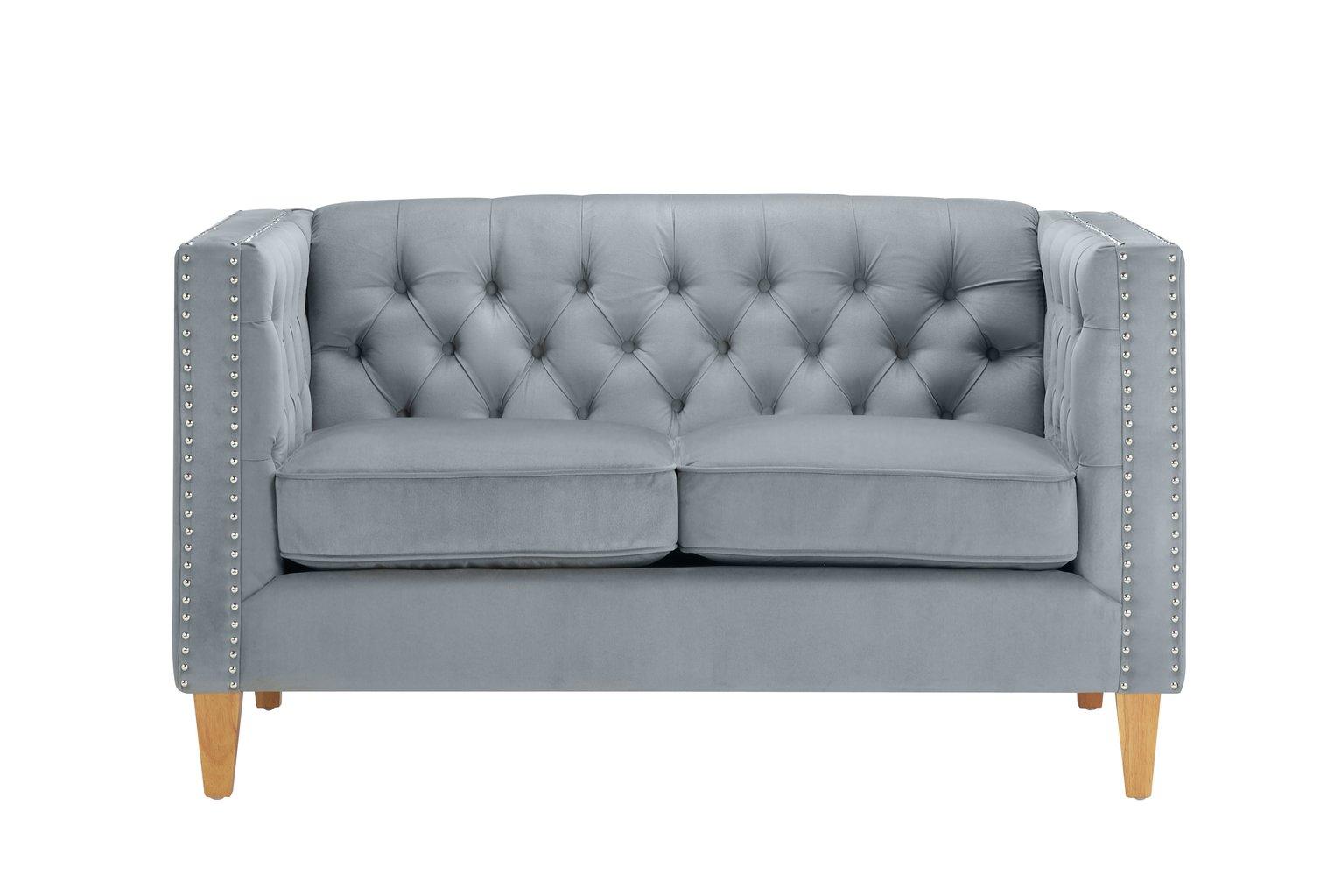 Birlea Florence 2 Seater Velvet Sofa - Grey