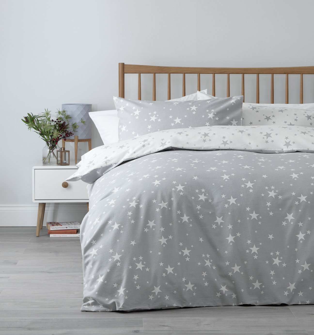 Argos Home Grey Brushed Cotton Star Bedding Set - Double
