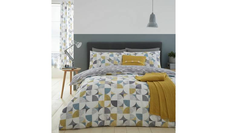 Catherine Lansfield Ochre Retro Circles Bedding Set - Single