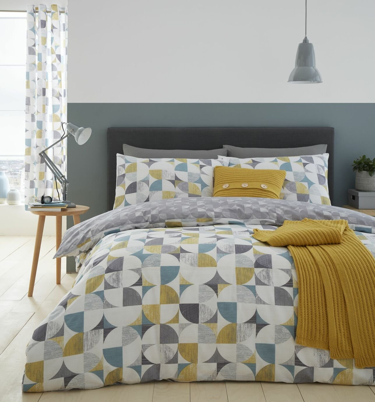 Catherine Lansfield Ochre Retro Circles Bedding Set - Double
