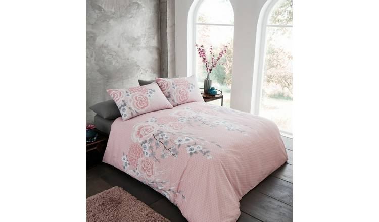 Catherine Lansfield Pink Blossom Bedding Set - Double
