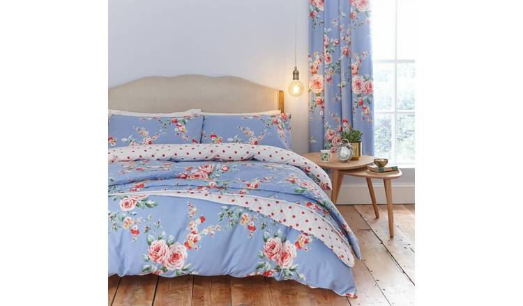 Catherine Lansfield Blue Canterbury Bedding Set - Double