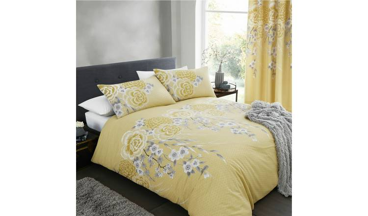 Catherine Lansfield Ochre Blossom Bedding Set - Double