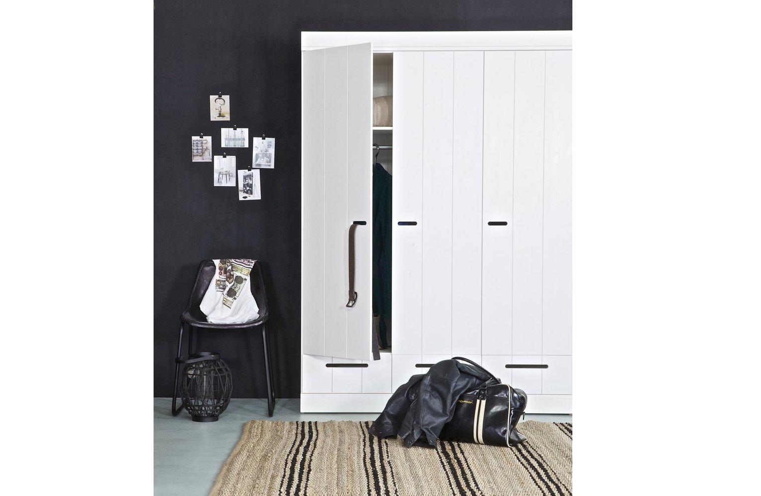 Woood Connect White 3 Door 3 Drawer Wardrobe