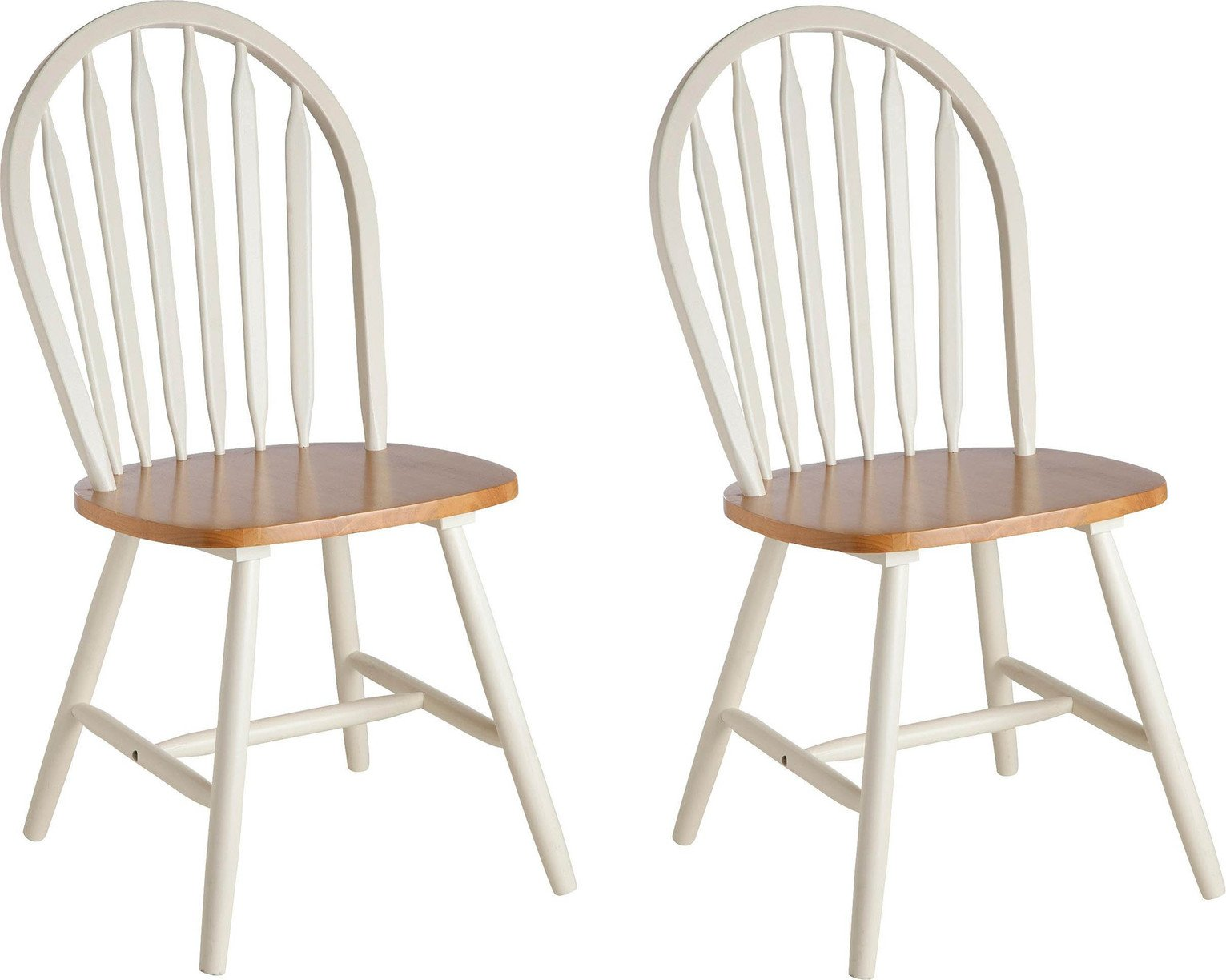 Image of Collection Kentucky Pair of Solid Wood Chairs - Two Tone