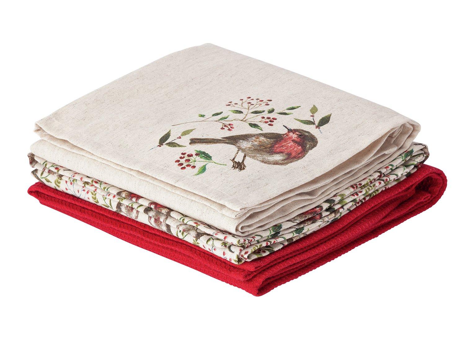 Argos Home Little Robin Tea Towels - 3 Pack