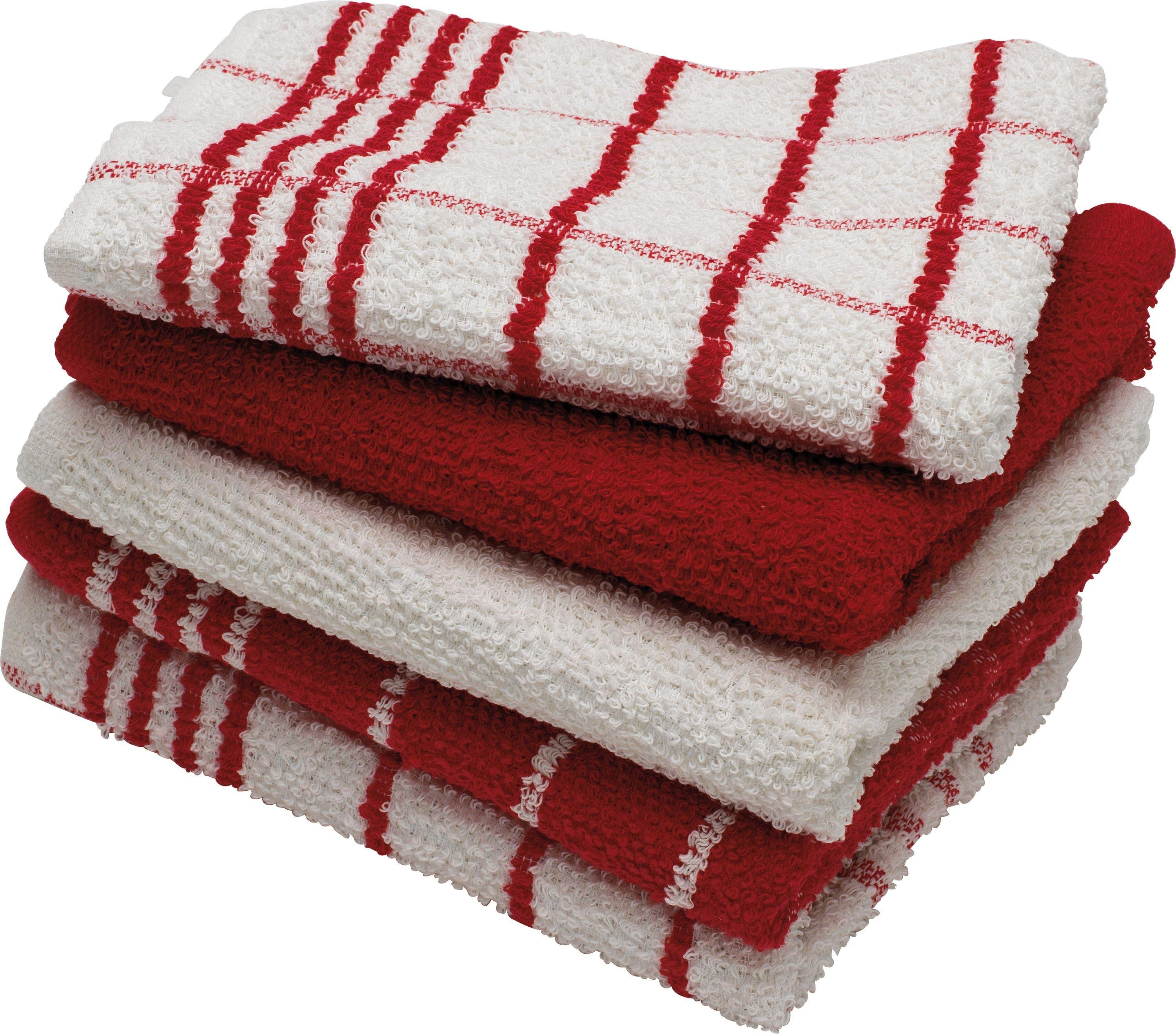 HOME Pack Of 5 Terry Tea Towels   Red/White