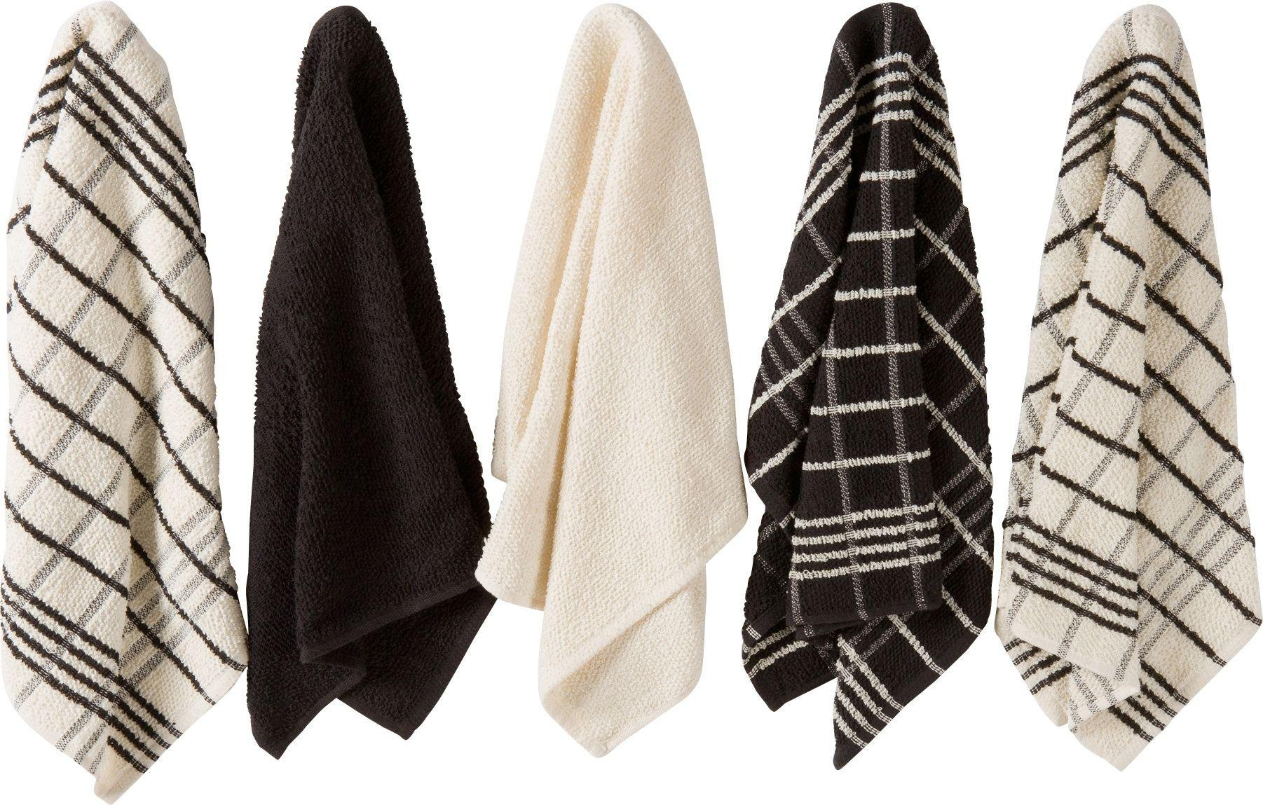 Image of HOME - Pack of 5 Terry Tea Towels - Black/Natural