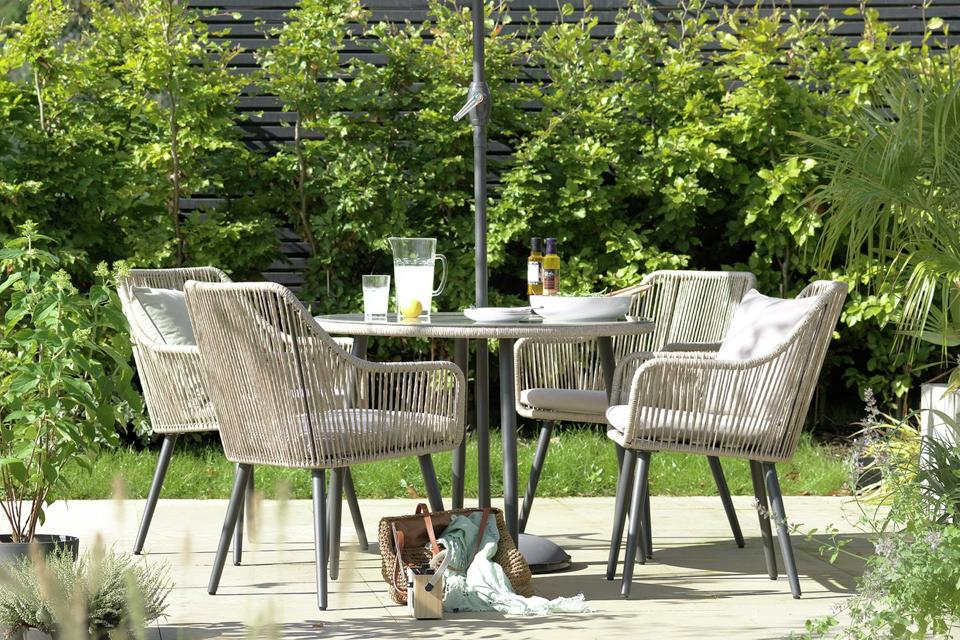 Rattan garden furniture set.