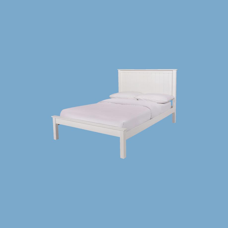 White bed frame.